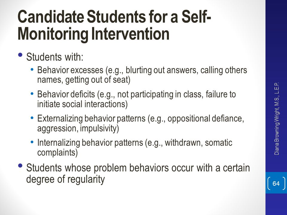 Candidate Students for a Self-Monitoring Intervention