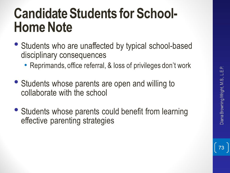 Candidate Students for School-Home Note