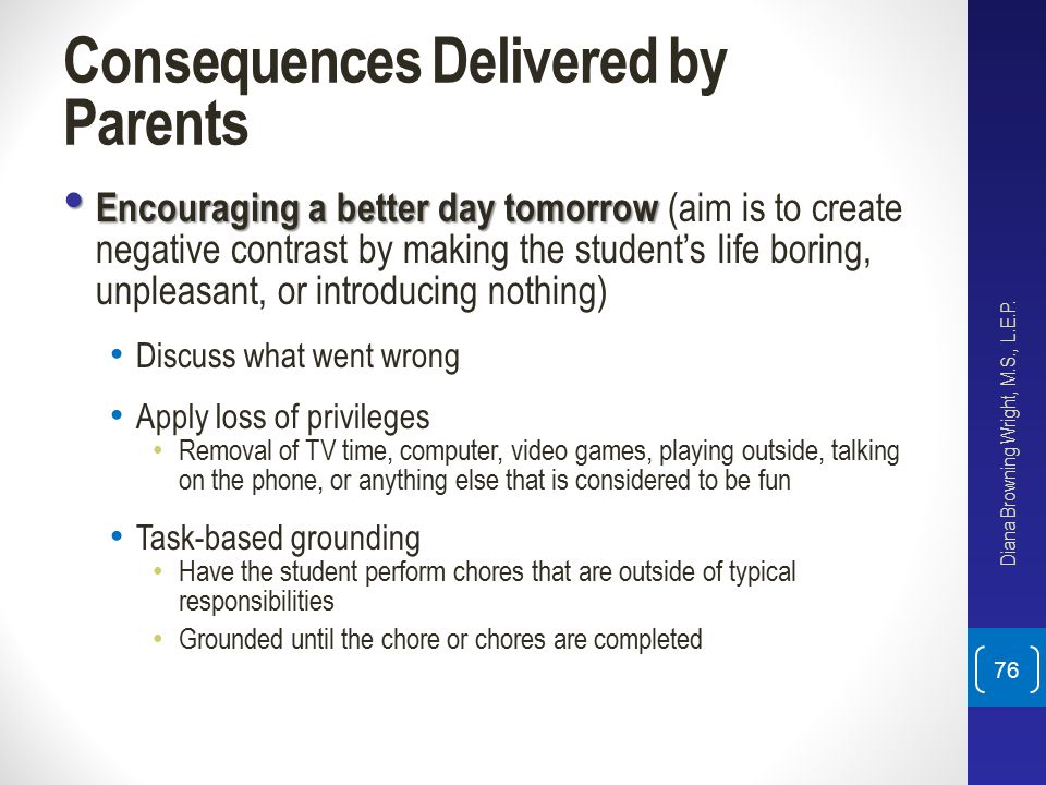 Consequences Delivered by Parents