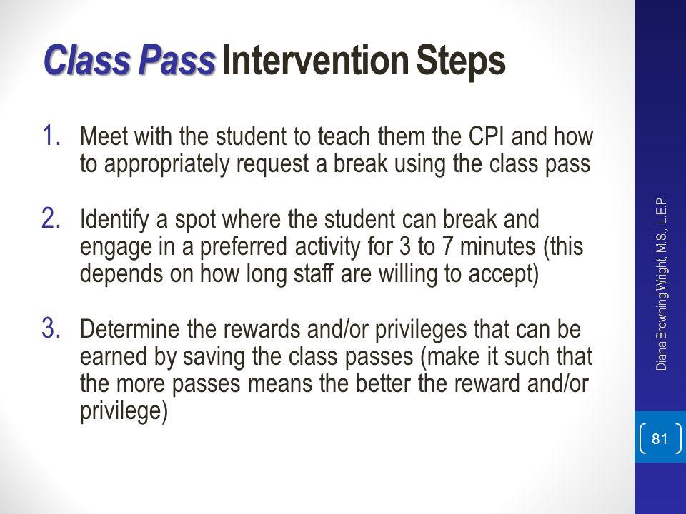 Class Pass Intervention Steps