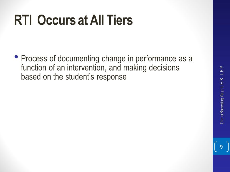 RTI Occurs at All Tiers