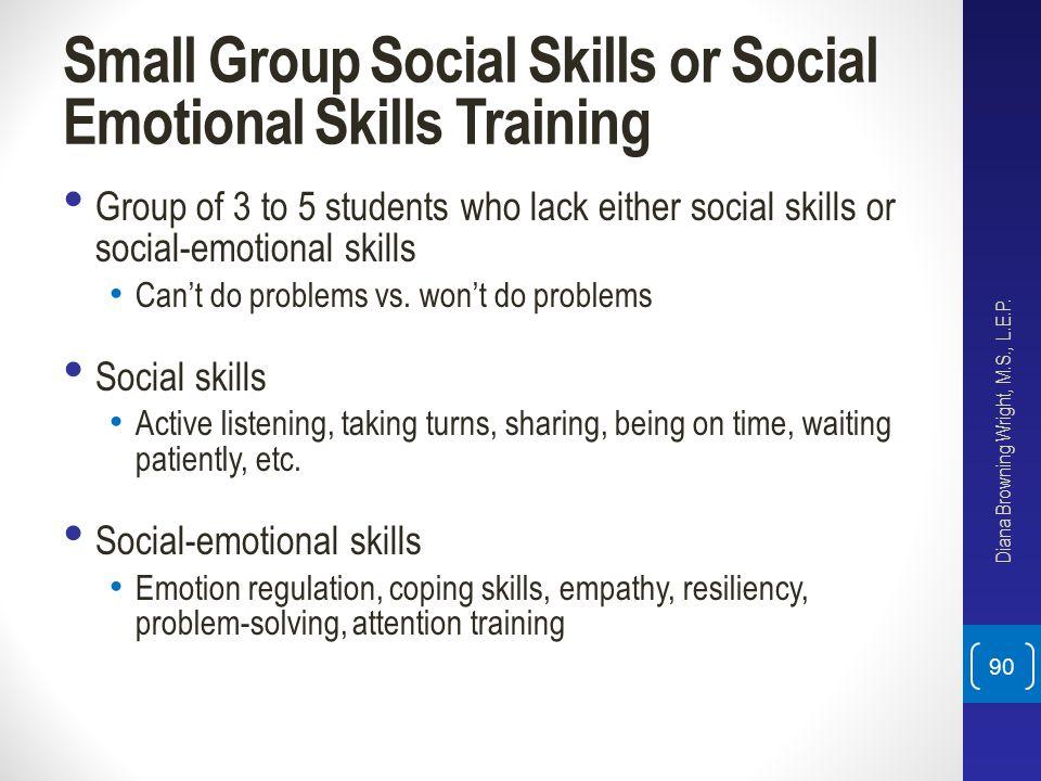 Small Group Social Skills or Social Emotional Skills Training