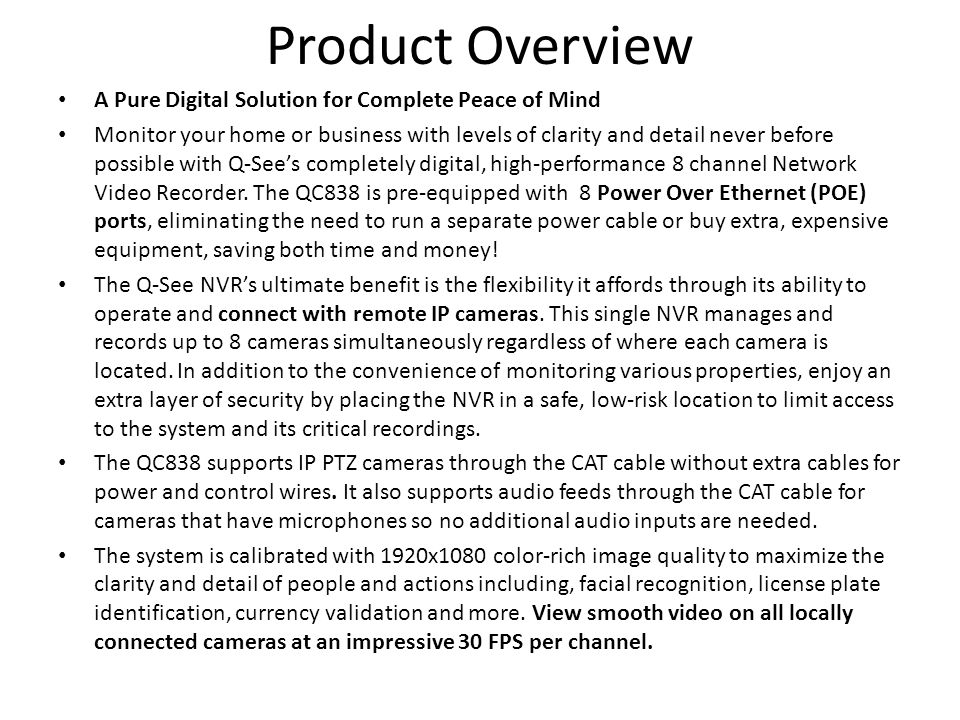 Product Overview A Pure Digital Solution for Complete Peace of Mind