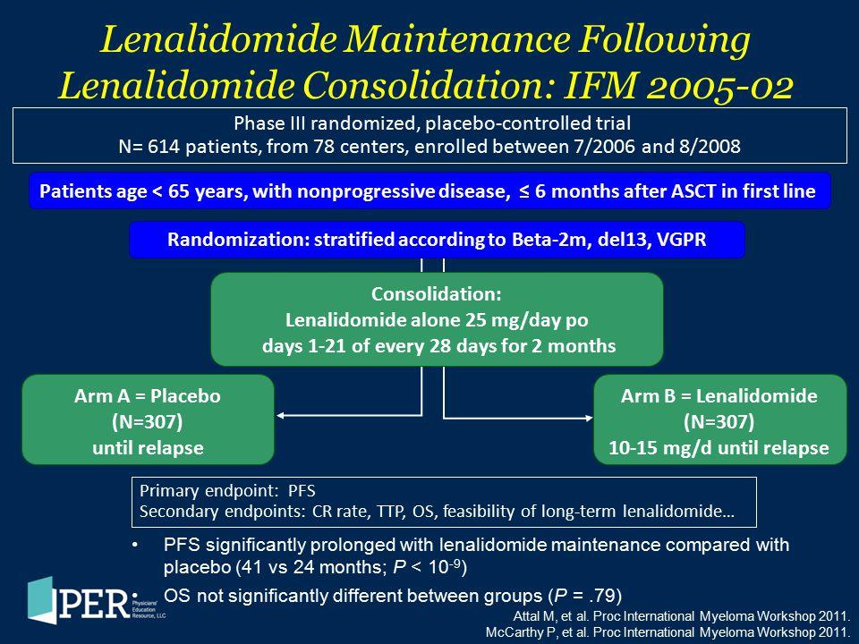 Lenalidomide Maintenance Following Lenalidomide Consolidation: IFM 2005-02