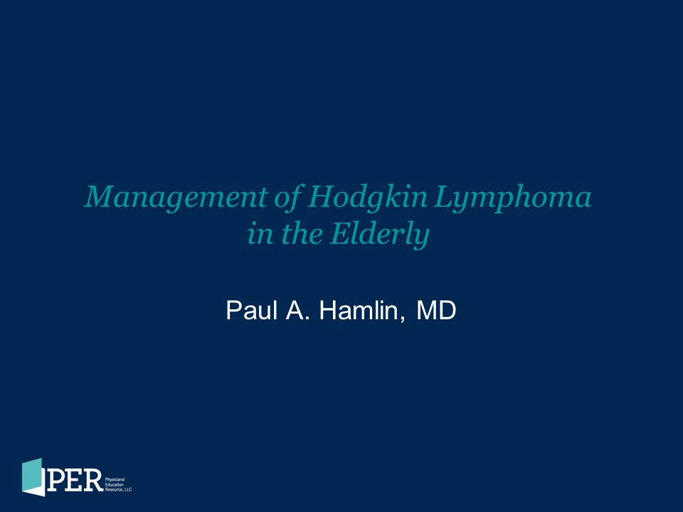 Management of Hodgkin Lymphoma in the Elderly