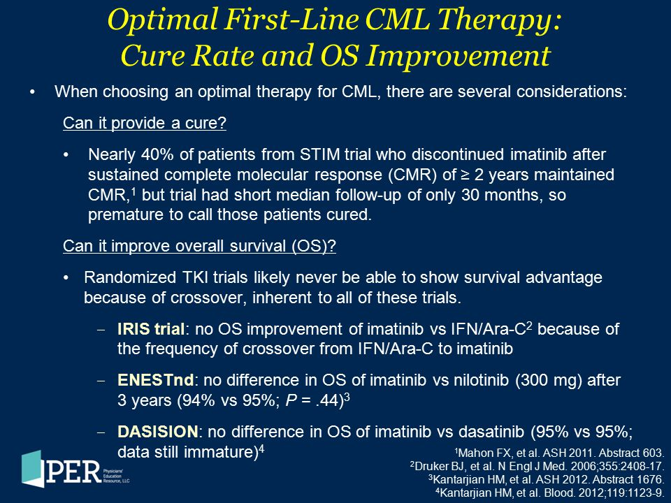 Optimal First-Line CML Therapy: Cure Rate and OS Improvement