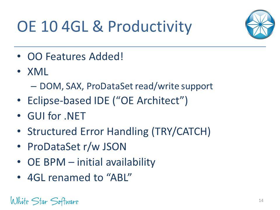 OE 10 4GL & Productivity OO Features Added! XML