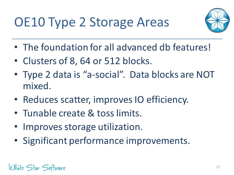 OE10 Type 2 Storage Areas The foundation for all advanced db features!