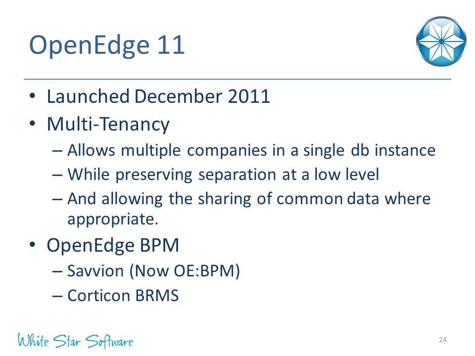 OpenEdge 11 Launched December 2011 Multi-Tenancy OpenEdge BPM