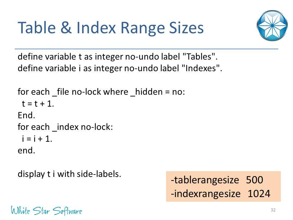 Table & Index Range Sizes