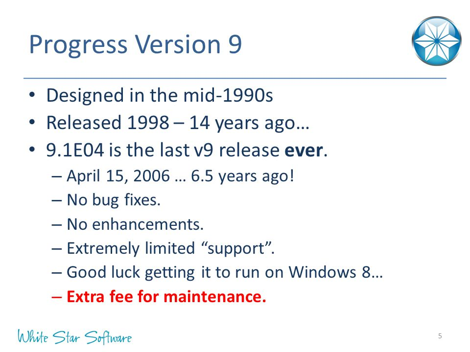 Progress Version 9 Designed in the mid-1990s