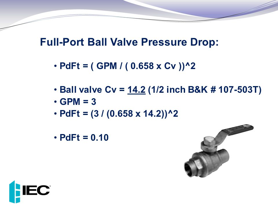 Full-Port Ball Valve Pressure Drop: