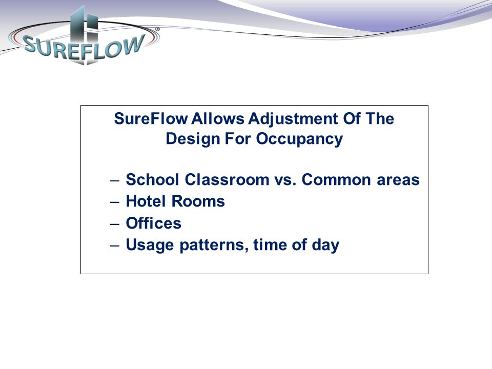 SureFlow Allows Adjustment Of The Design For Occupancy