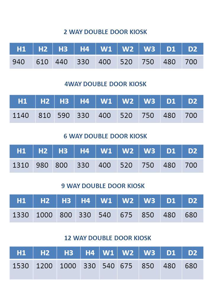 2 WAY DOUBLE DOOR KIOSK H1. H2. H3. H4. W1. W2. W3. D1. D2. 940. 610. 440. 330. 400. 520.