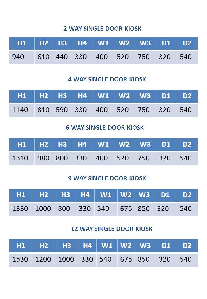 2 WAY SINGLE DOOR KIOSK H1. H2. H3. H4. W1. W2. W3. D1. D2. 940. 610. 440. 330. 400. 520.