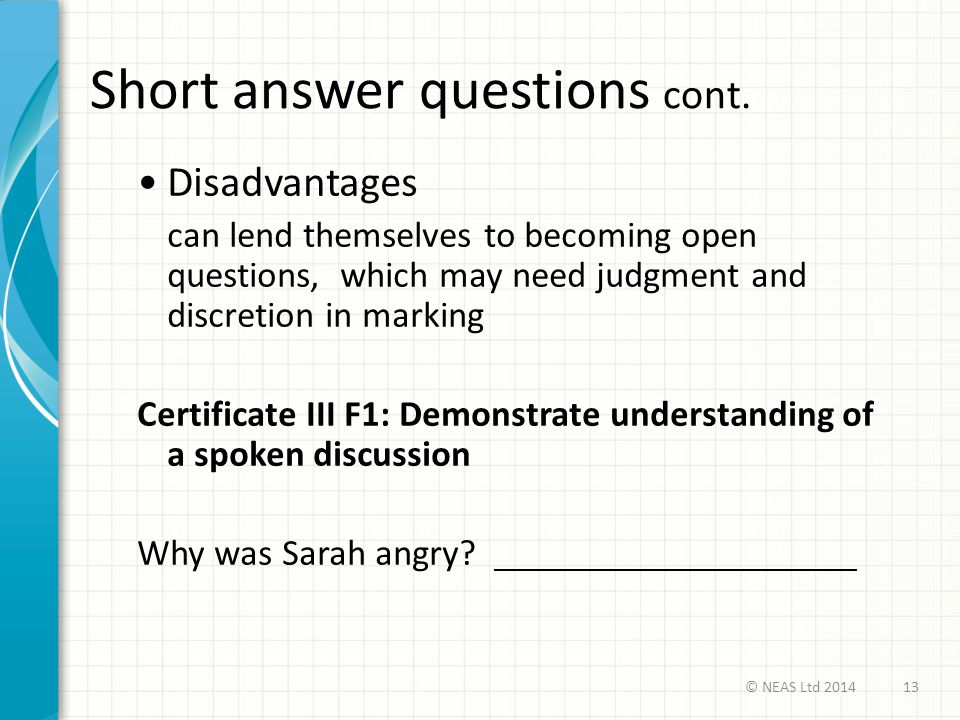 Short answer questions cont.