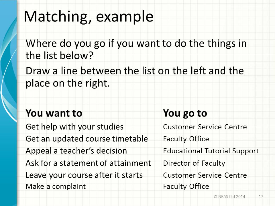 Matching, example Where do you go if you want to do the things in the list below