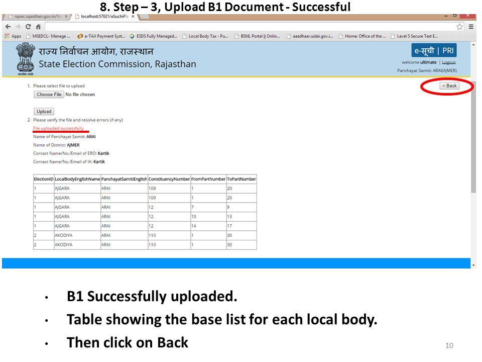 8. Step – 3, Upload B1 Document - Successful