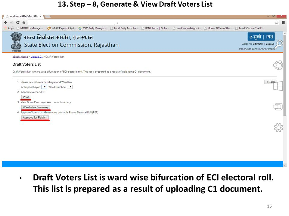 13. Step – 8, Generate & View Draft Voters List