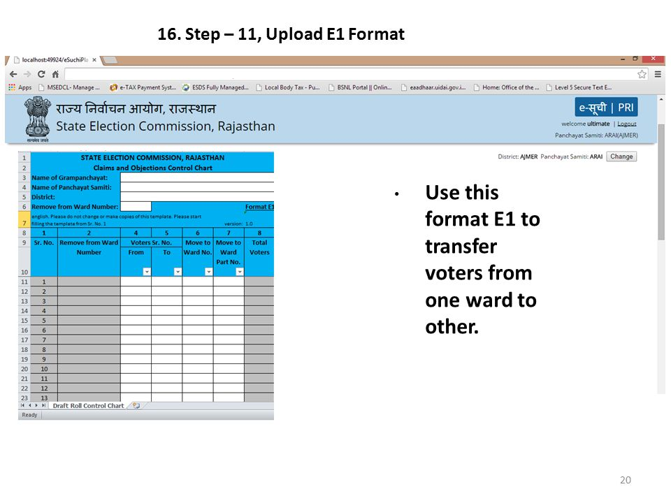 Use this format E1 to transfer voters from one ward to other.
