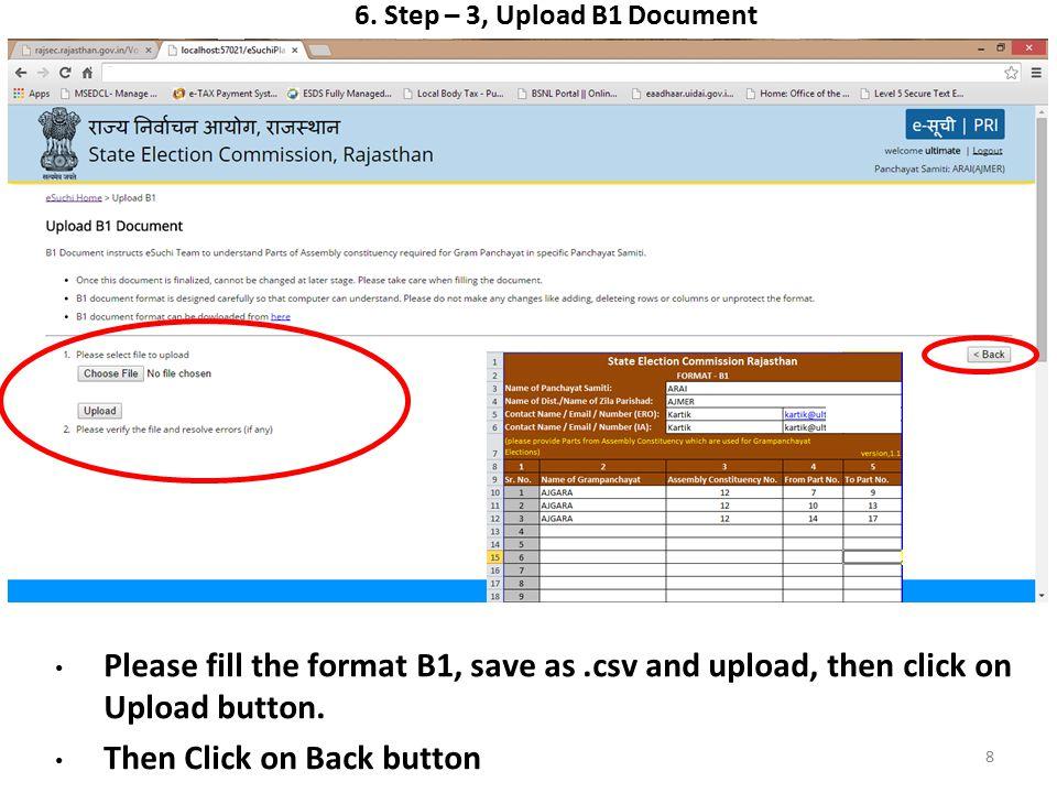 6. Step – 3, Upload B1 Document