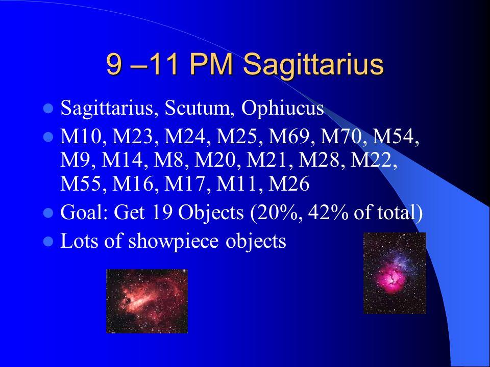 9 –11 PM Sagittarius Sagittarius, Scutum, Ophiucus