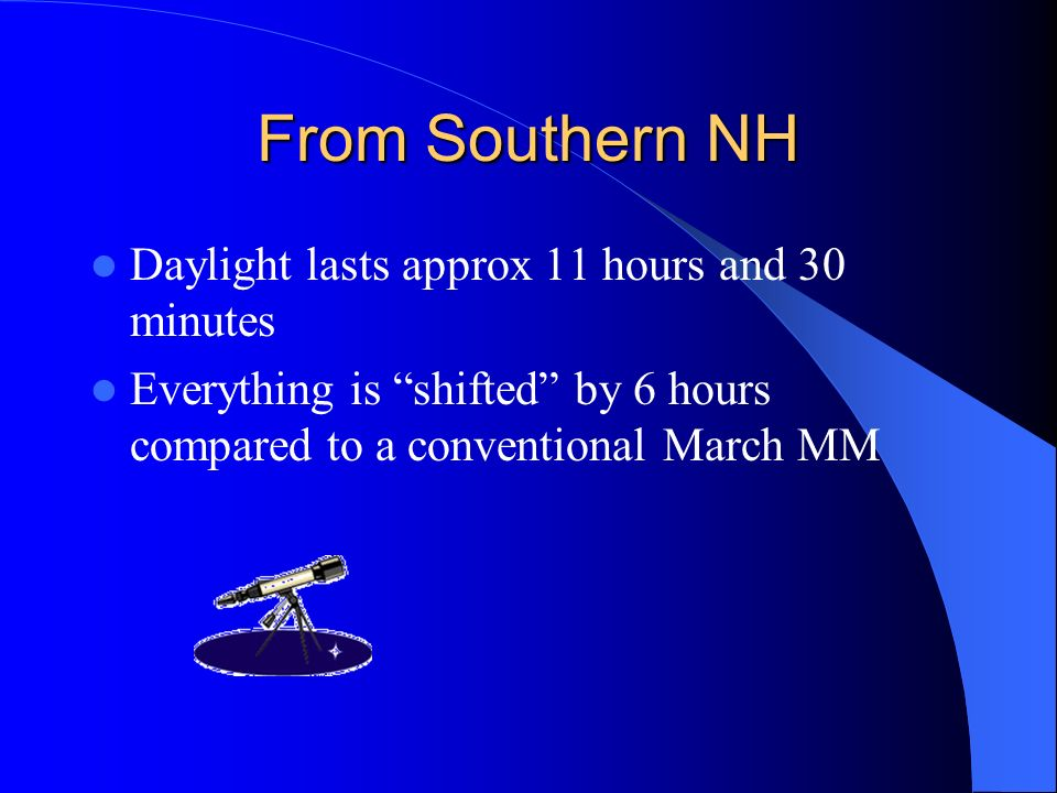 From Southern NH Daylight lasts approx 11 hours and 30 minutes