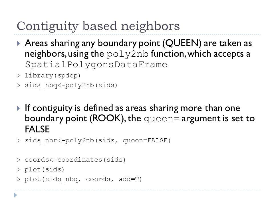 Contiguity based neighbors