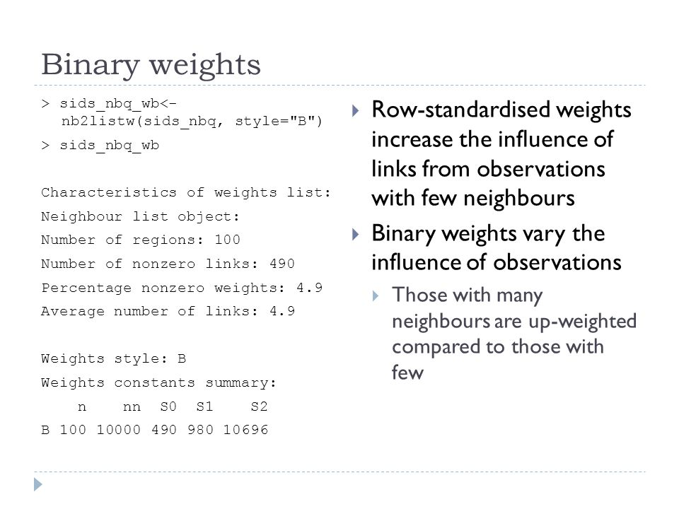 Binary weights