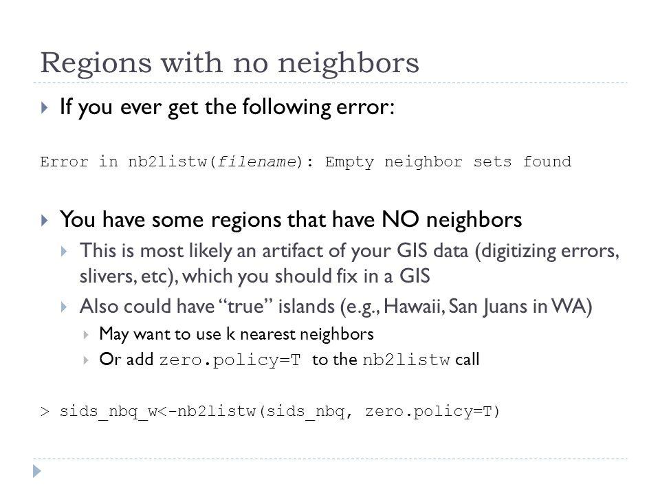 Regions with no neighbors