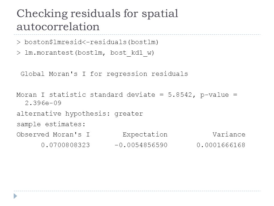 Checking residuals for spatial autocorrelation