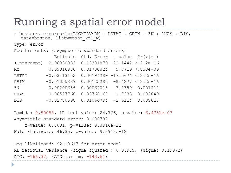 Running a spatial error model