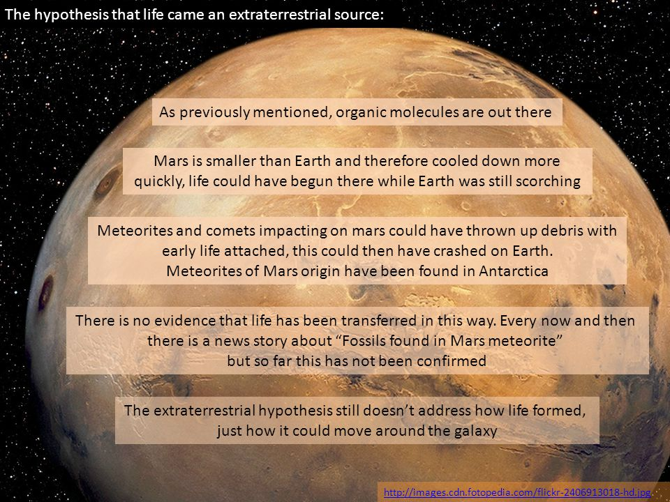 The hypothesis that life came an extraterrestrial source: