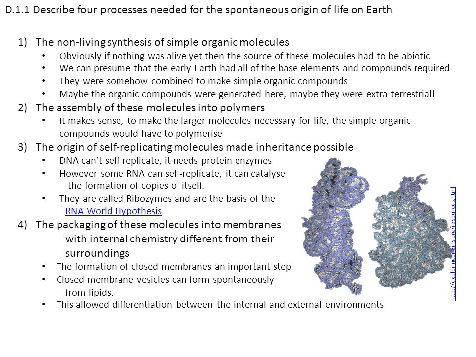 The non-living synthesis of simple organic molecules