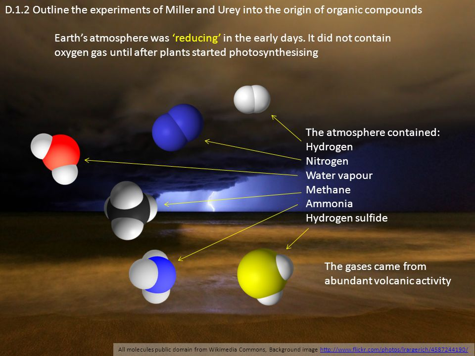 The atmosphere contained: Hydrogen Nitrogen Water vapour Methane