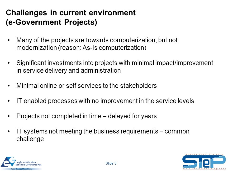Challenges in current environment (e-Government Projects)