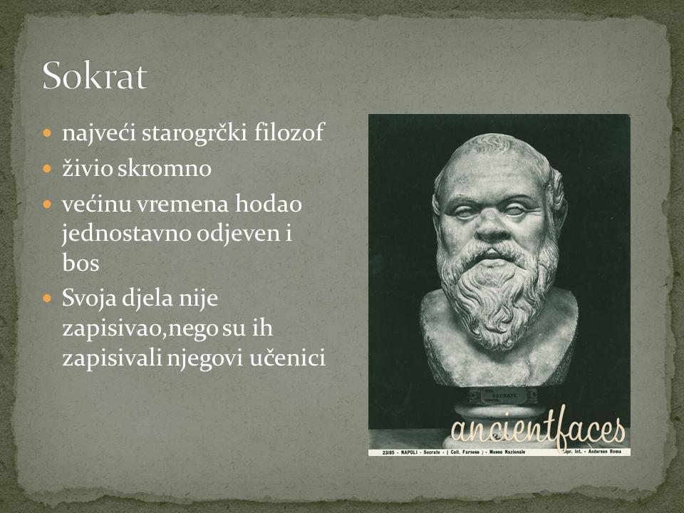 Sokrat najveći starogrčki filozof živio skromno
