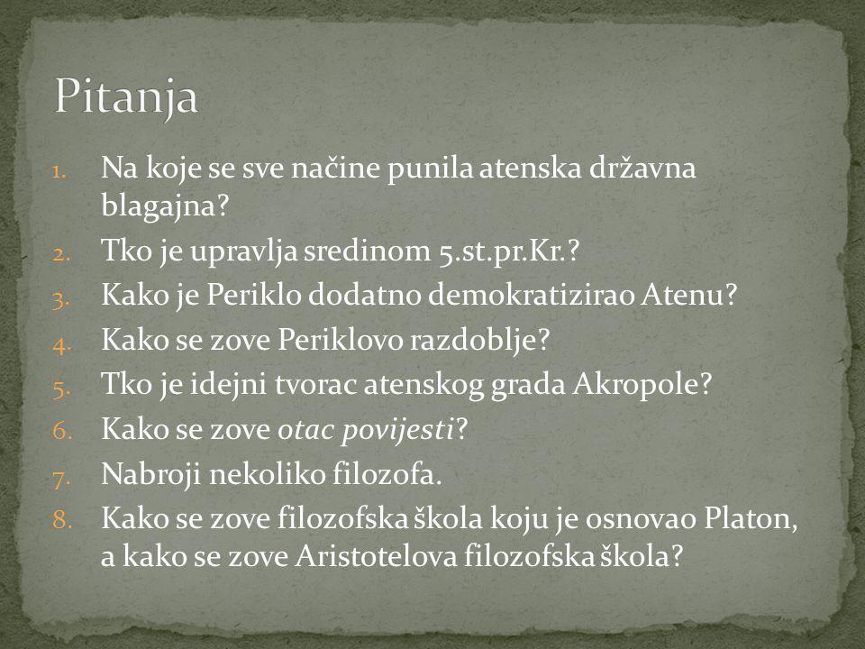 Pitanja Na koje se sve načine punila atenska državna blagajna
