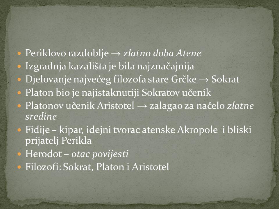 Periklovo razdoblje → zlatno doba Atene