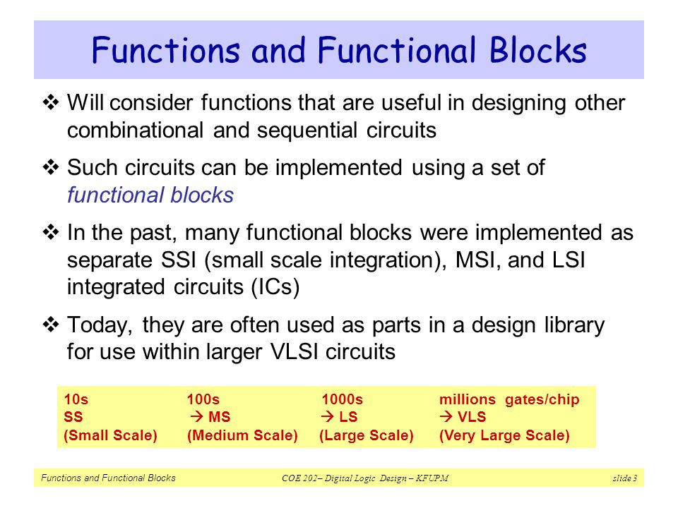Functions and Functional Blocks