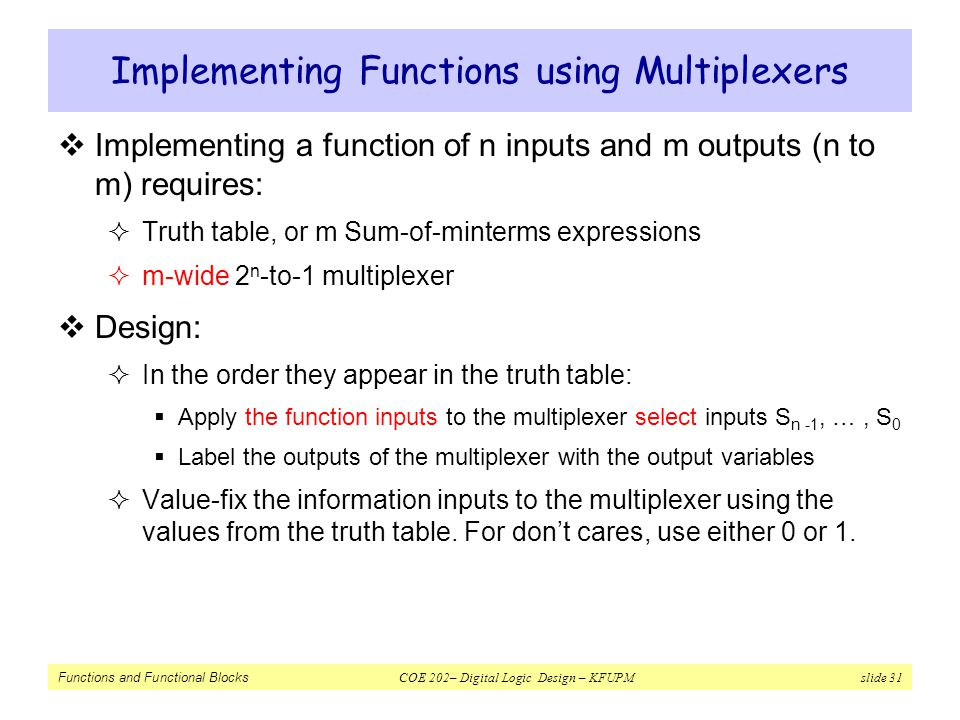 Implementing Functions using Multiplexers