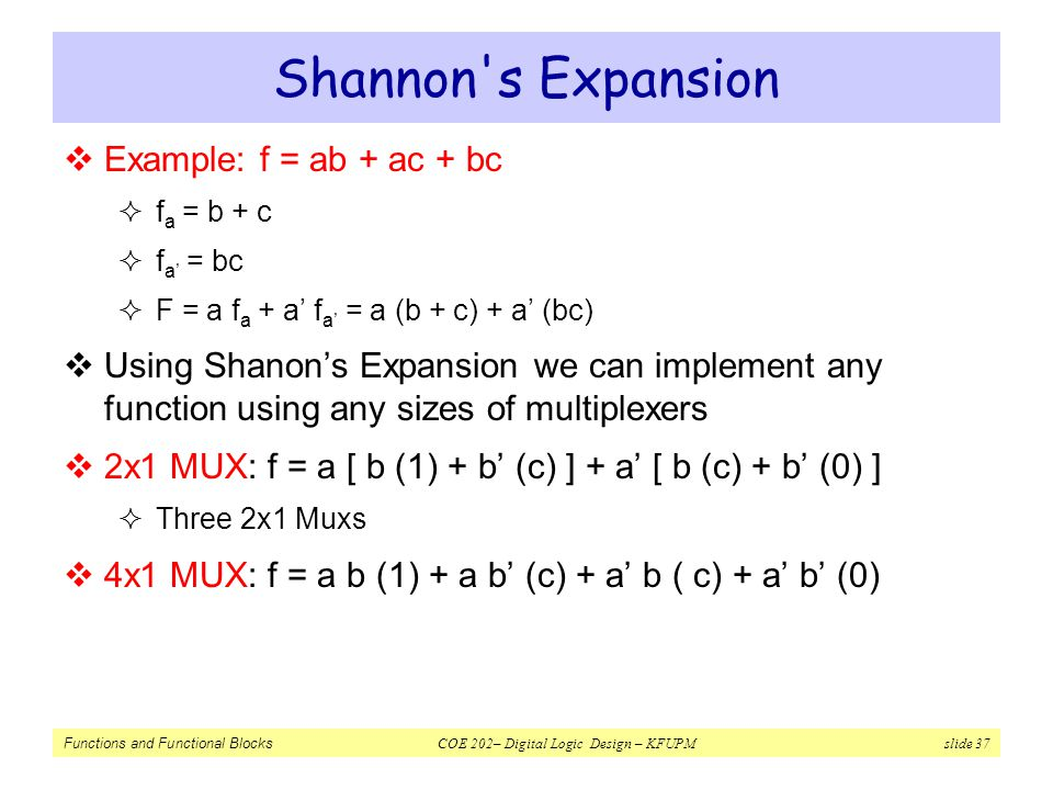 Shannon s Expansion Example: f = ab + ac + bc