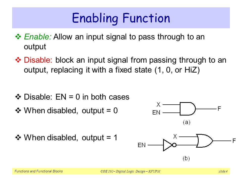 Enabling Function Enable: Allow an input signal to pass through to an output.