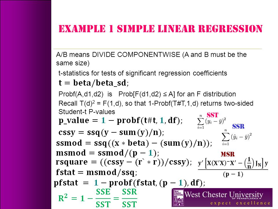Example 1 simple linear regression