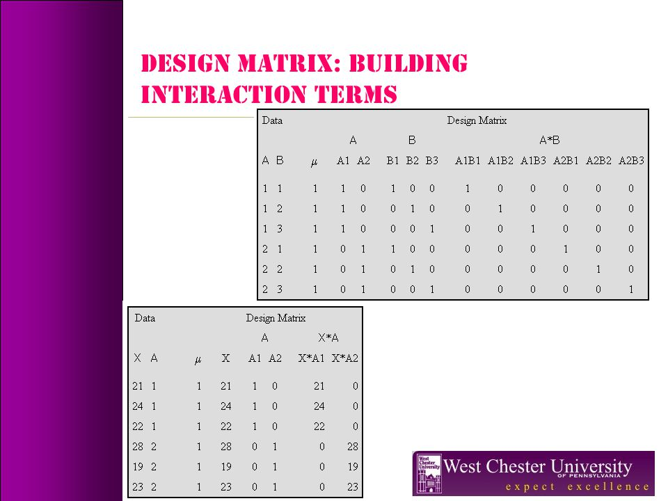 DESIGN MATRIX: Building Interaction terms