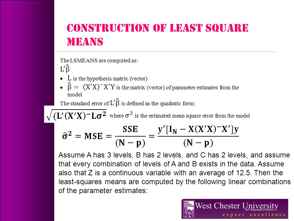 CONSTRUCTION OF LEAST SQUARE MEANS