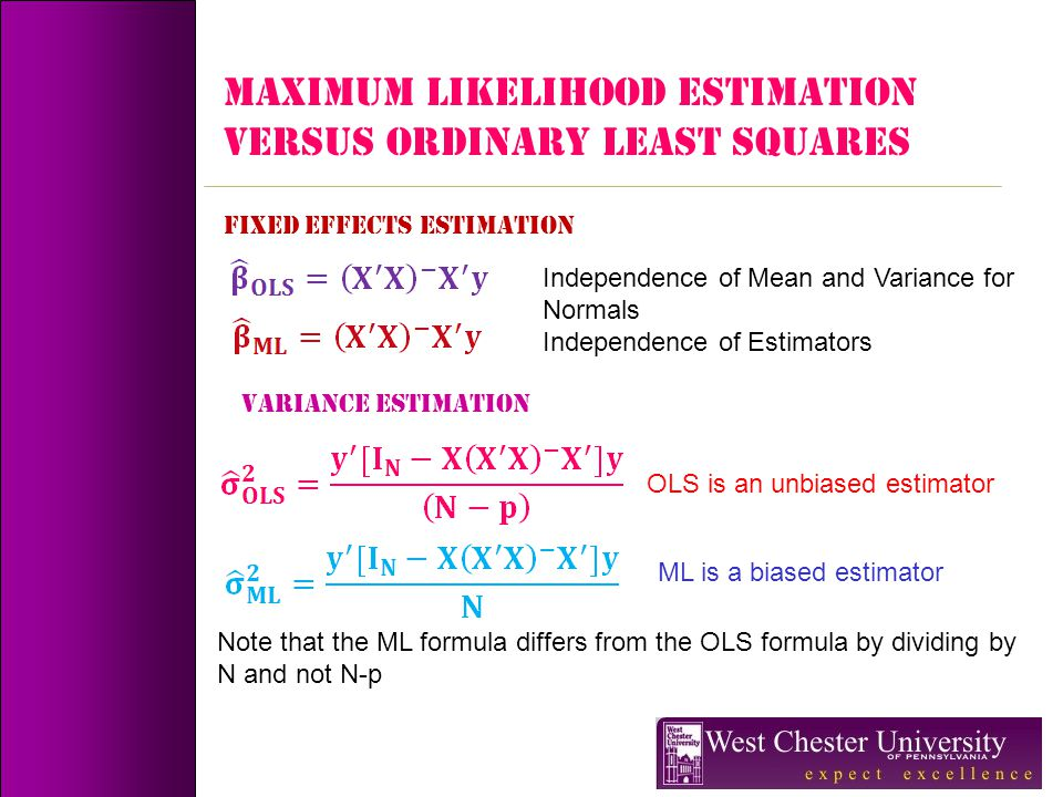 MAXIMUM LIKELIHOOD ESTIMATION VERSUS Ordinary least squares