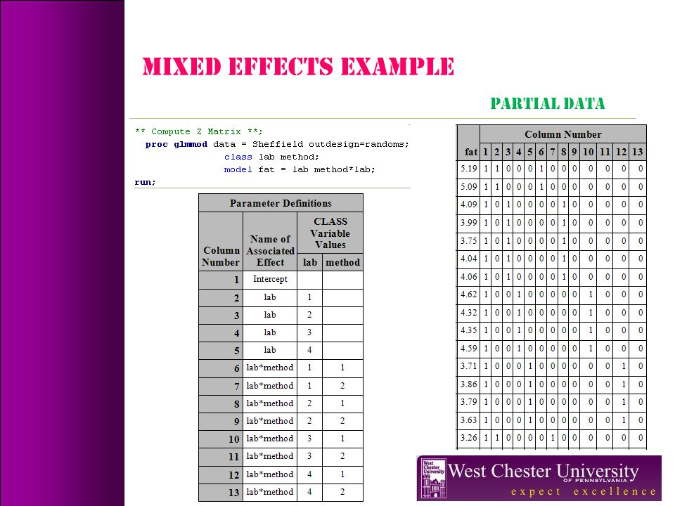MIXED EFFECTS Example PARTIAL DATA