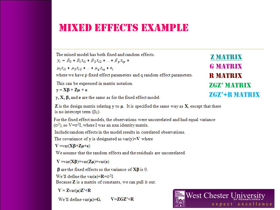MIXED EFFECTS Example Z Matrix G Matrix R Matrix ZGZ' Matrix