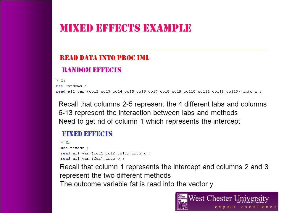 MIXED EFFECTS Example READ DATA INTO PROC IML RANDOM EFFECTS